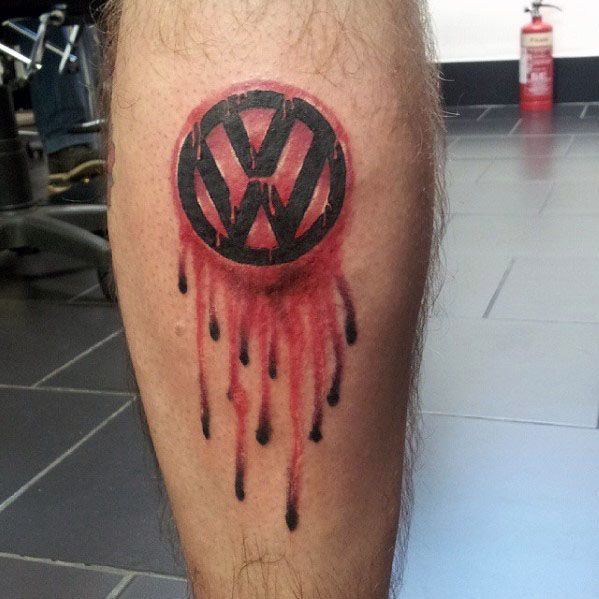 Male Volkswagen Wv Tattoo Design Inspiration On Leg Calf