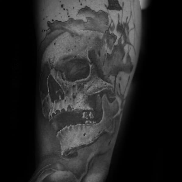 Male Watercolor Skull Tattoo Design Inspiration On Arm