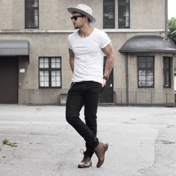 Male What To Wear With Black Jeans Outfits Styles White T Shirt