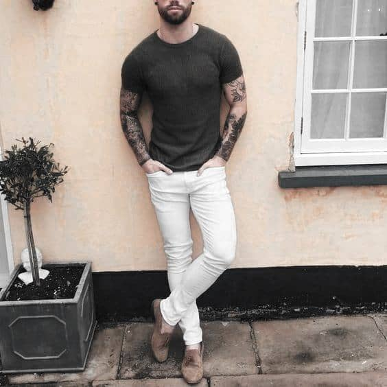 Male What To Wear With White Jeans Outfits Styles Olive Green T Shirt