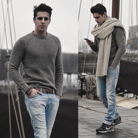Male Winter Outfits Clothing Styles Grey Sweater With Chunky Cream Scarf
