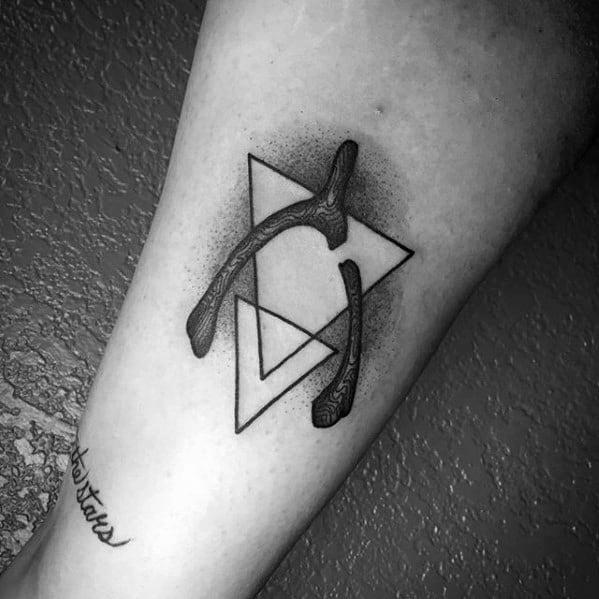 Male Wishbone Geometric Forearm Tattoo Design Inspiration