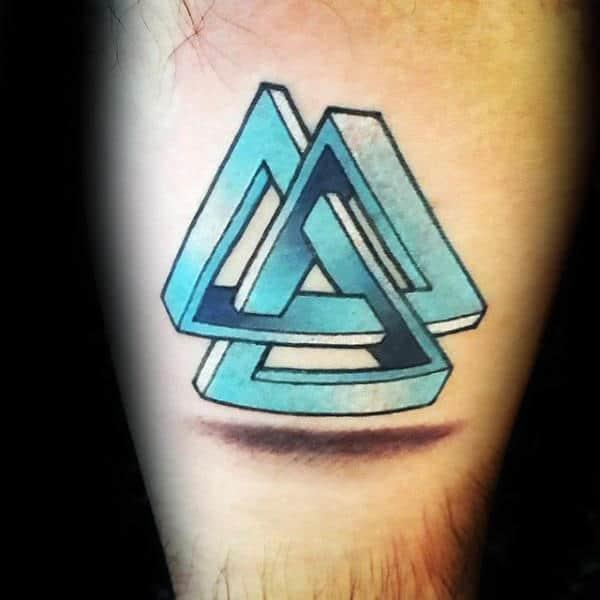 Male With 3d Blue Valknut Arm Tattoo