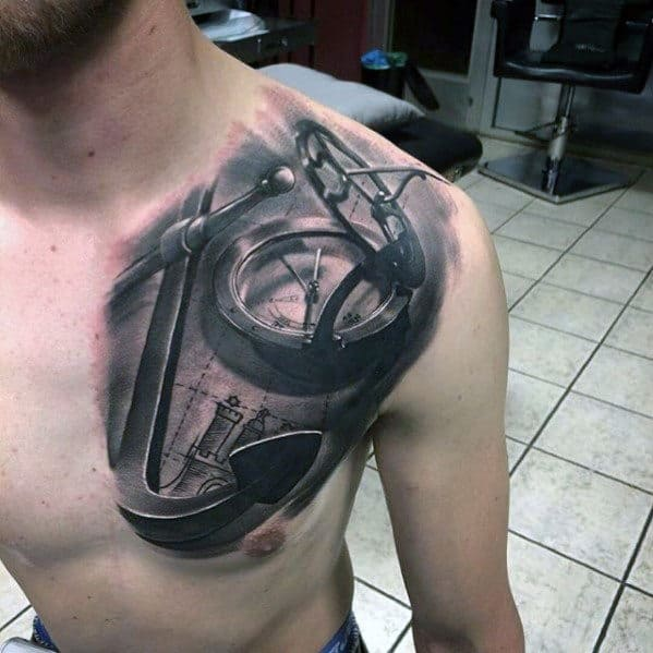 Male With 3d Hyper Realistic Anchor And Compass Chest And Shoulder Tattoo