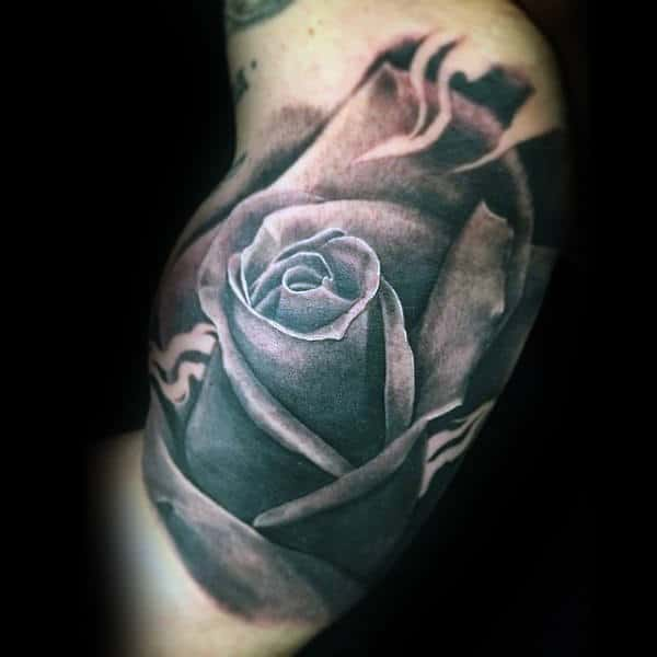 Male With 3d Inner Arm Rose Flower Tattoo