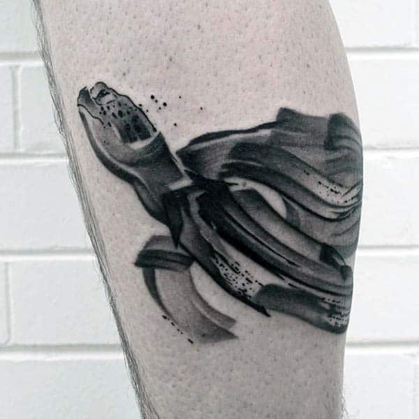 Male With Abstract Watercolor Paint Brush Stroke Turtle Leg Tattoo