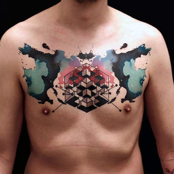 Male With Abstract Watercolor Tattoo On Chest