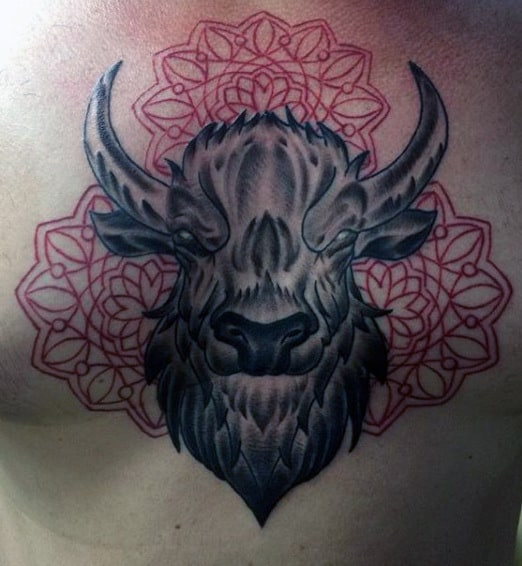 Male With Angry Bull Tattoos