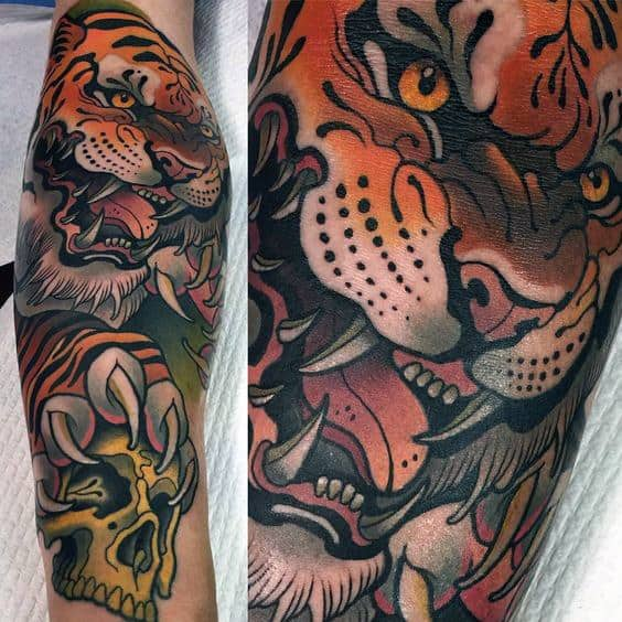 Male With Artistic Tattoo Of Tiger And Skull Leg Sleeve Design