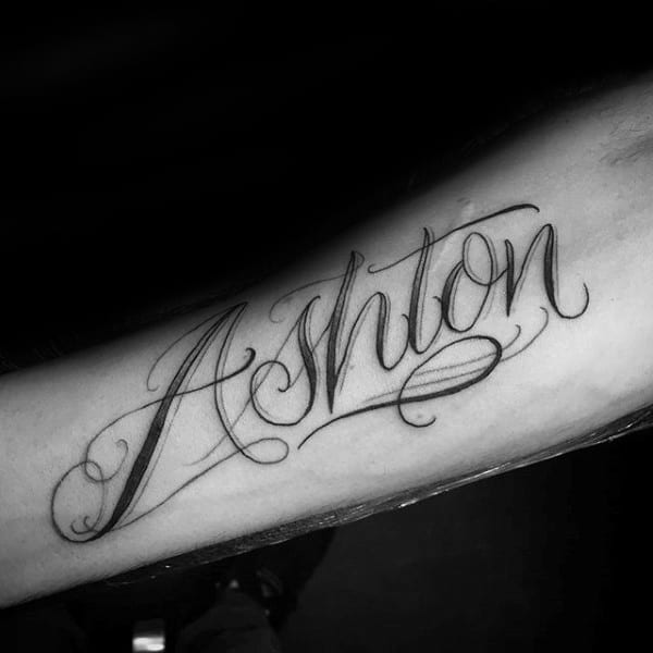 Male With Ashton Name Forearm Tattoo