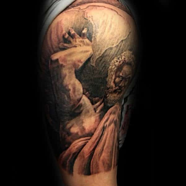 Male With Atlas Holding Globe Upper Arm Tattoo Shaded Ink Design Style