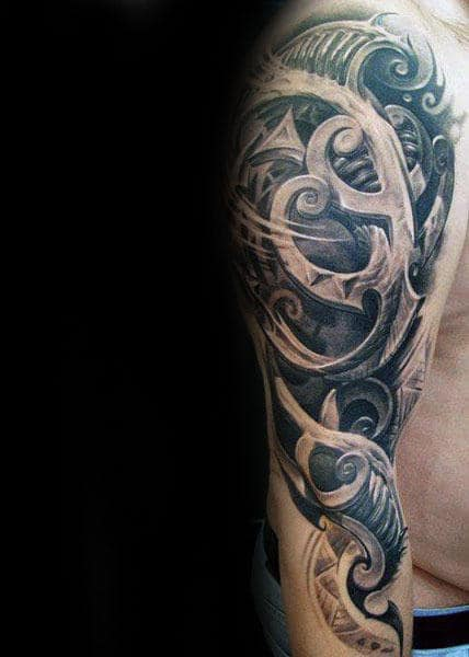 Male With Awesome 3d Tribal Arm Tattoo