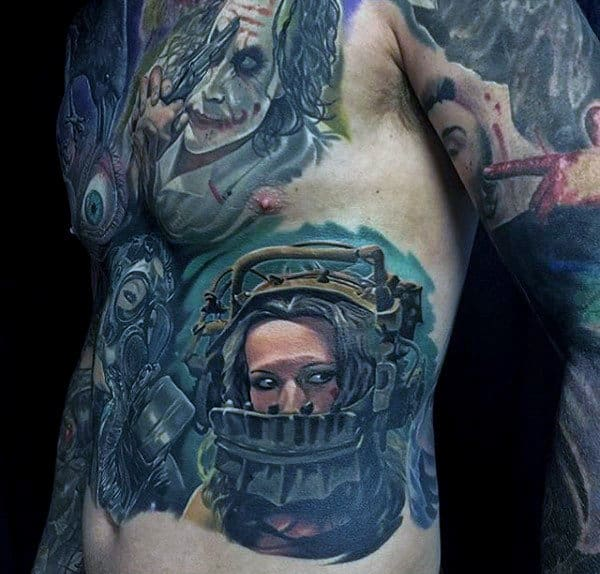 Male With Awesome Chest And Stomach Tattoos