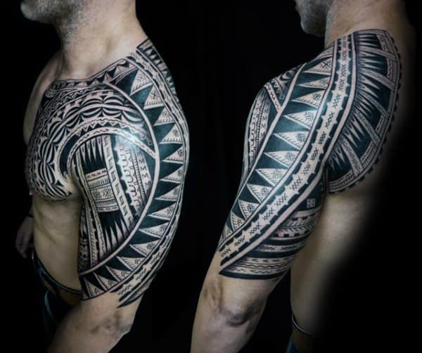 Male With Awesome Half Sleeve Tattoo Tribal