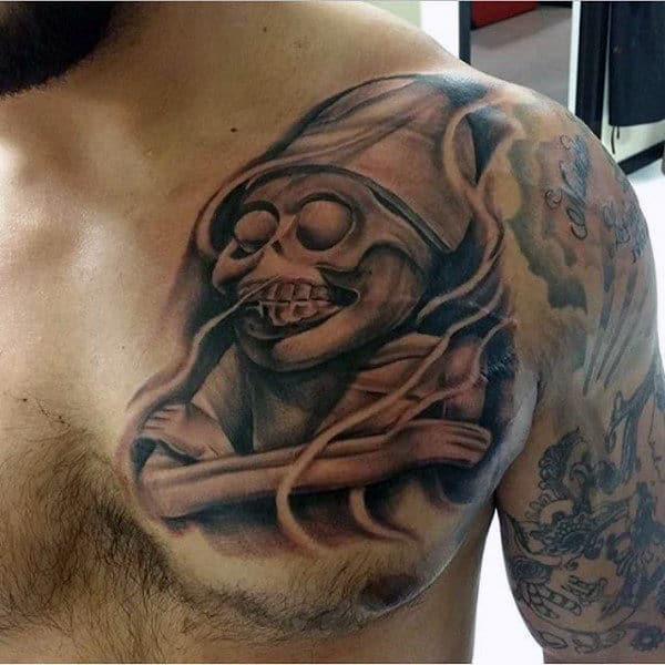 Male With Awesome Mayan Skeleton Upper Chest Tattoo