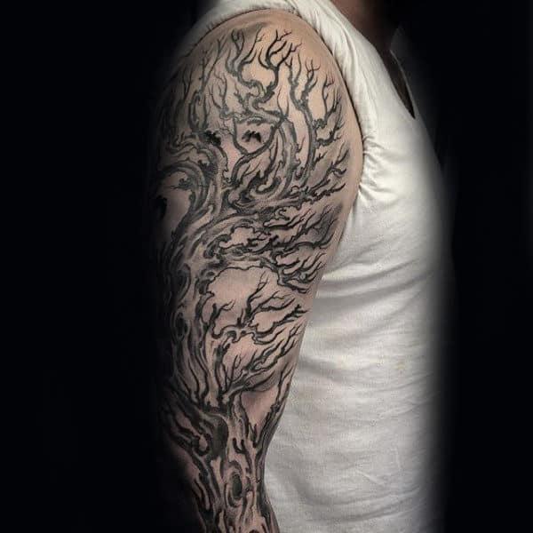 Male With Awesome Tree Sleeve Tattoo