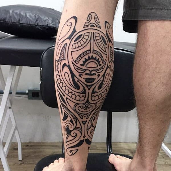 Male With Back Of Leg Maori Tattoo