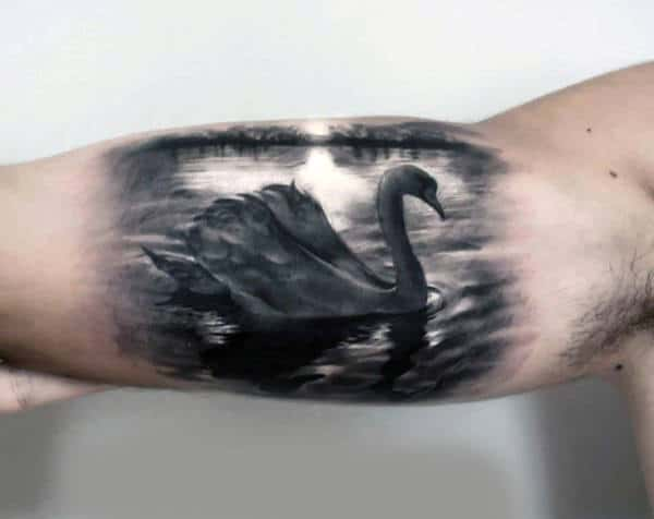 Male With Badass Realistic Swan In Water Bicep Tattoo