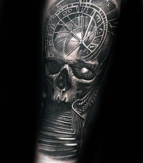Male With Badass Skull Stairway Inner Forearm Tattoo