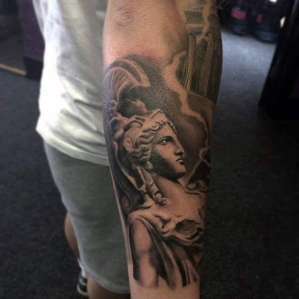 Male With Black And Grey Greek God Tattoo Mens Forearms