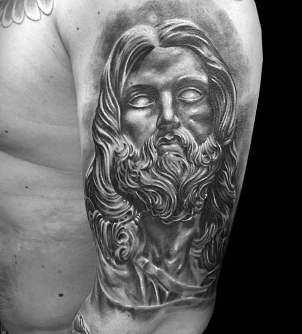 Male With Black And Grey Ink Shaded Jesus Portarit Tattoo Design On Arm