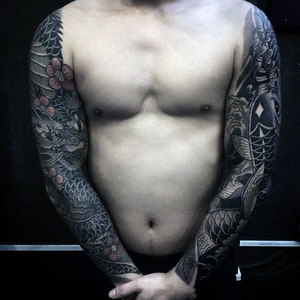 Male With Black Grey Japanese Tattoo On Sleeves