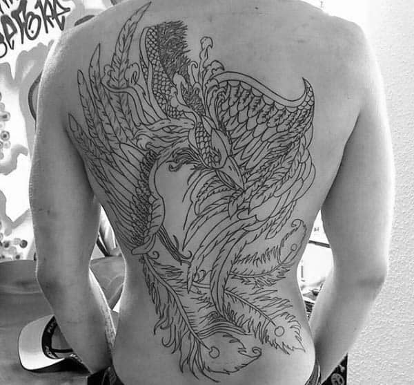 Male With Black Ink Outline Tattoo Design Of Phoenix Bird
