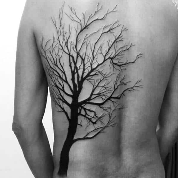 Male With Black Ink Simple Tree Back Tattoo