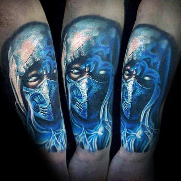 Male With Blue Ink Sub Zero Mortal Kombat Quarter Sleeve Tattoo