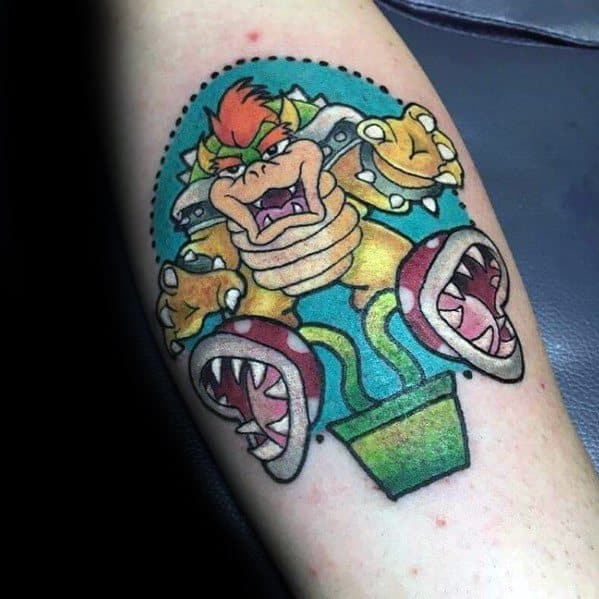 Male With Bowser Tattoos Mario Designs