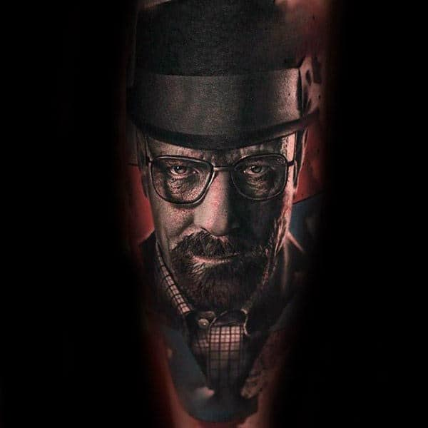 Male With Breaking Bad Portrait Of Walter White Tattoo On Leg
