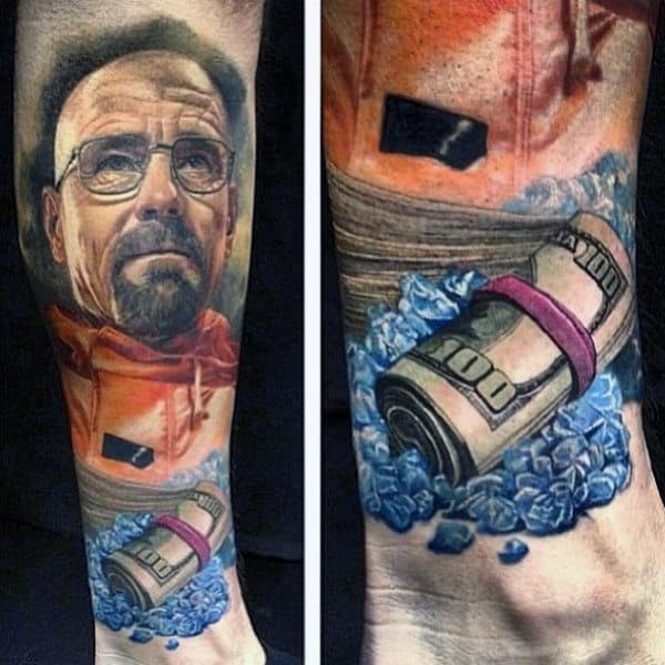 Male With Breaking Bad Themed Leg Sleeve Tattoo