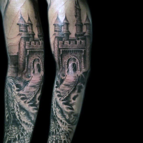 Male With Castle Bridge And Dragon Tattoo Sleeve