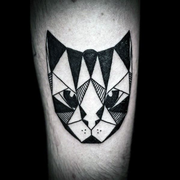 Male With Cat Tattoos Geometric Designs