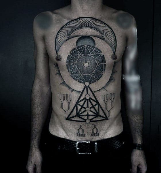 Male With Chest Blackwork Tattoo Geometric Shapes And Patterns