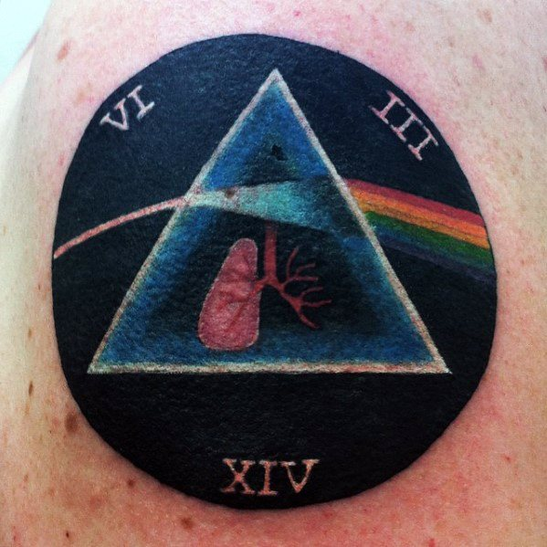 Male With Circle Arm Cool Dark Side Of The Moon Tattoo Design