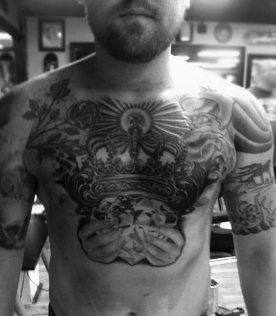 Male With Claddagh Chest Tattoo