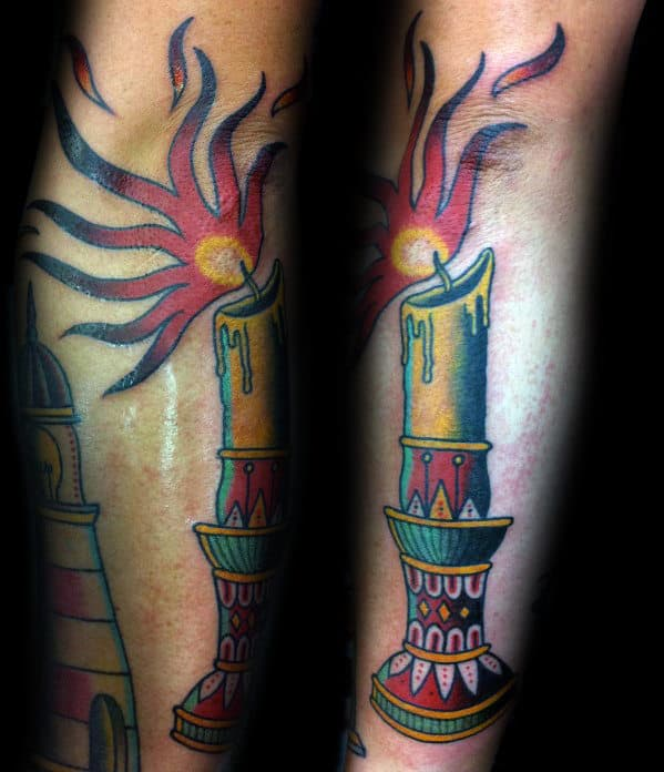 Male With Colorful Candle Traditional Outer Forearm Tattoo