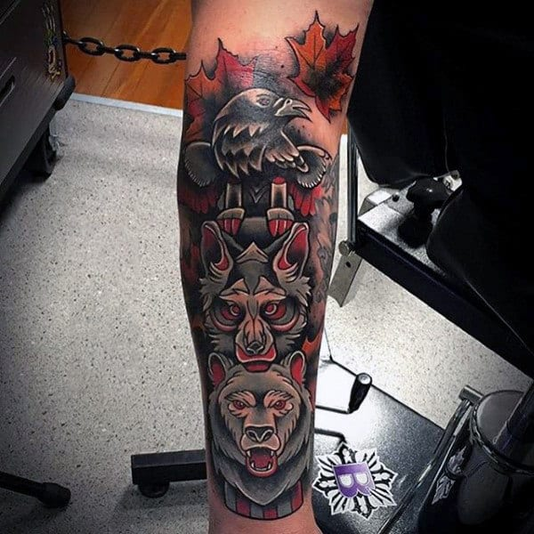 Male With Colorful Wolf Bear And Raven Totem Pole Tattoo Half Sleeve