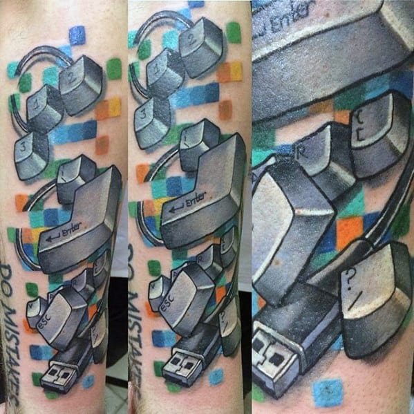 Male With Cool 3d Computer Tattoo Design