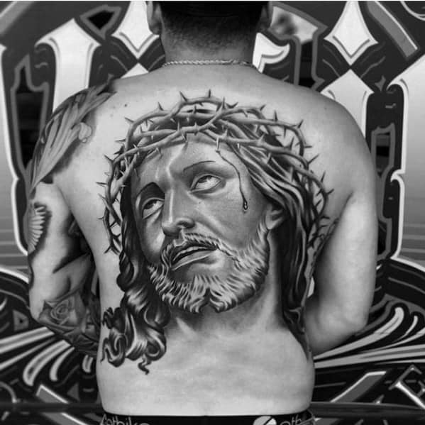 Male With Cool 3d Jesus Tattoo Design On Back