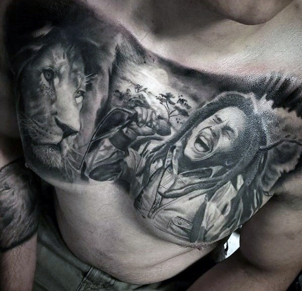 Male With Cool 3d Lion Upper Chest Bob Marley Tattoo Design