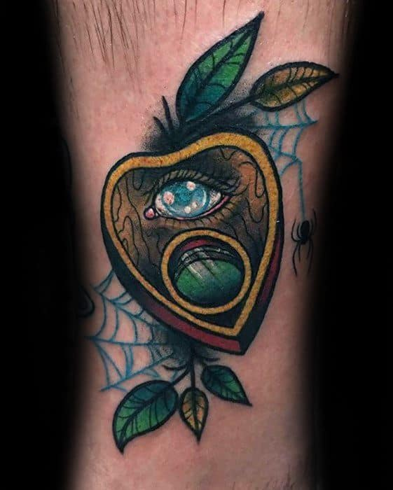 Male With Cool 3d Lower Leg Planchette Tattoo Design