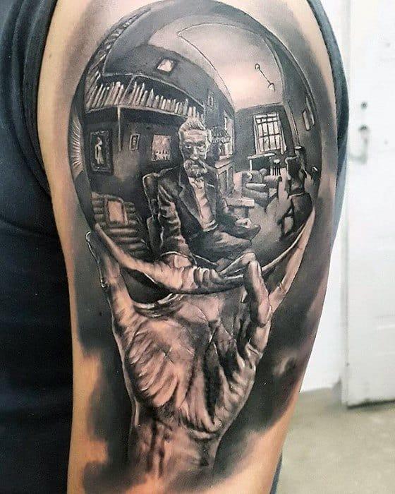 Male With Cool 3d Mc Escher Tattoo Design