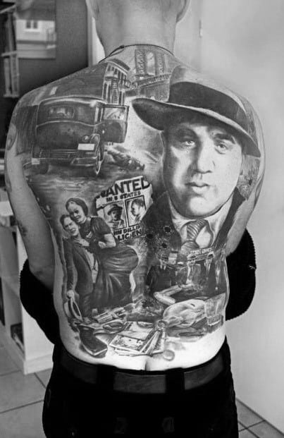 Male With Cool Al Capone Themed Full Back Tattoo Design