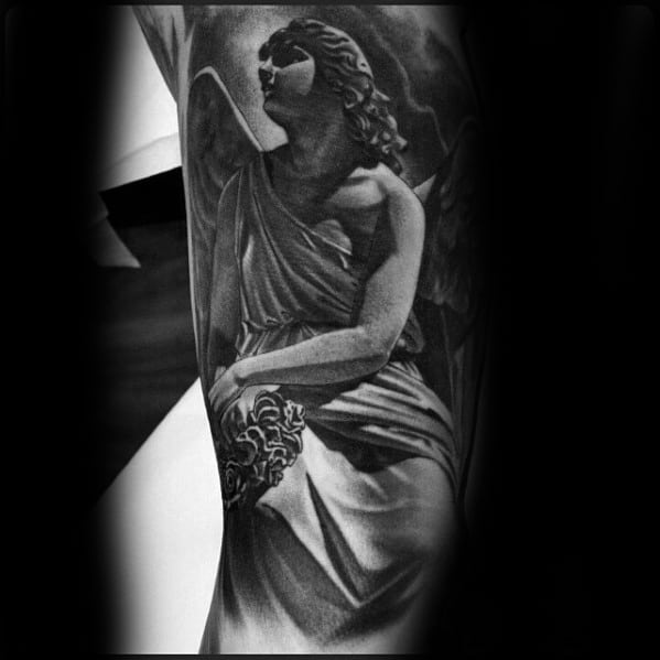 Male With Cool Angel Statue Tattoo Design On Arm