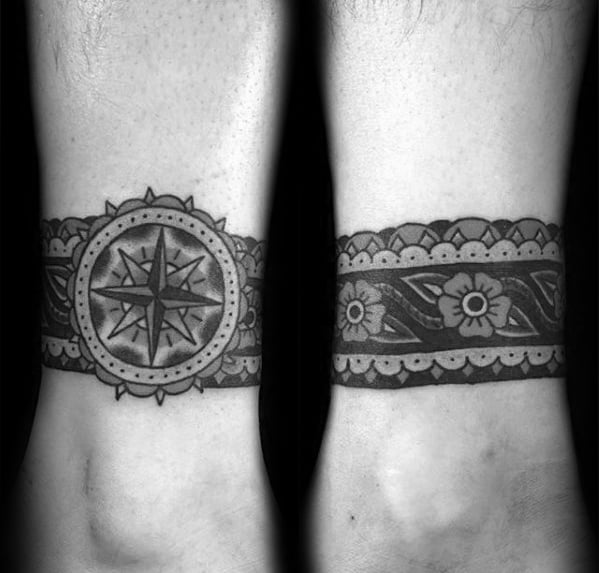 Male With Cool Ankle Band Tattoo Design With Compass