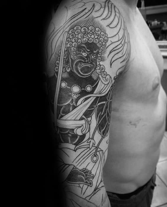 Male With Cool Arm Fudo Myoo Tattoo Design