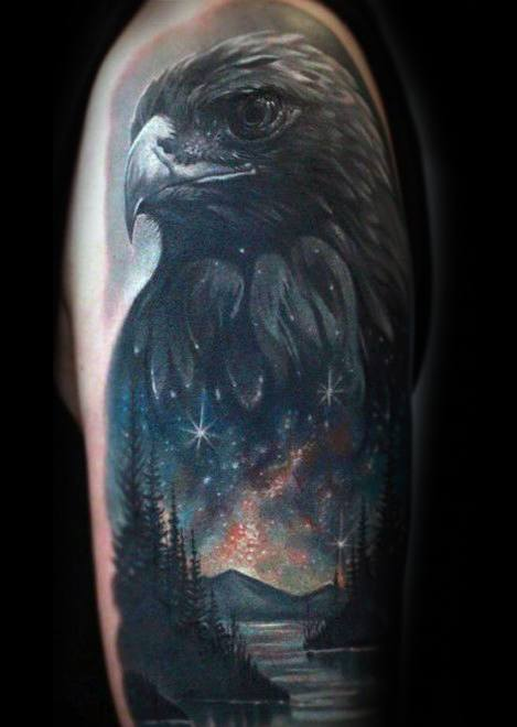 Male With Cool Arm Lake Tattoo Design
