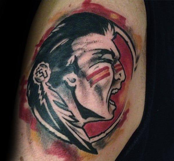 Male With Cool Arm Watercolor Fsu Tattoo Design